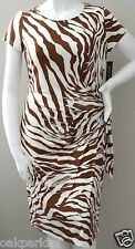 Lafayette 148 New York Modern Animal Print Faux Wrap Stretch Dress XL New!