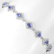 Sterling Silver 925 Genuine Natural Blue Violet Tanzanite Bracelet 7-8.75 Inch
