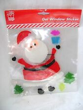 NEW SANTA CLAUS WINDOW GEL STICKER CLING FATHER CHRISTMAS & PRESENT DECORATION