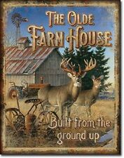"""12 1/2"""" X 16"""" TIN SIGN THE OLD FARMHOUSE BUILT FROM THE GROUND UP METAL SIGN"""