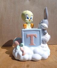 VINTAGE Warner Bros Bugs Bunny & Tweety Bird Baby Piggy Bank Porcelain 1998