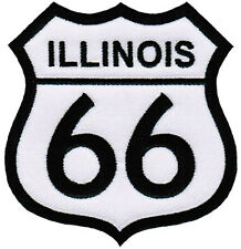 ROUTE 66 ILLINOIS iron-on MOTORCYCLE BIKER PATCH new ROAD SIGN embroidered