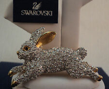 Signed Swan Swarovski Gold Plated Pave Rabbit Crystal Brooch Pin