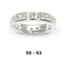 Alliance Rhodié Eternity T50 à 62 Rail Diamant Cz 4mm Argent Massif Dolly-Bijoux