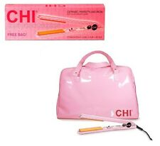 "FAROUK chi CERAMIC 1"" flat iron BREAST CANCER  pink+BAG"