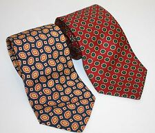 Burberry's Vintage Ties (2) Silk Twill Medallions Blue And Red France England
