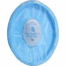 6 x OVAL BLUE PLASTIC PLATES PLATTERS BIRTHDAY BBQ PARTY TABLEWARE DISPOSABLE