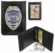 Badge & ID Holder with Neck Chain1 Leather Shield Style Bi-Fold  1139 Rothco