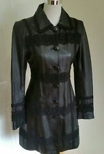 Alannah Hill 'I'll Never Find Another Coat' sz 8 Black Lace Leather Coat RRP$400