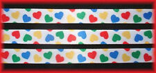 3/8 VALENTINE EYE CANDY MULTI PRIMARY HEARTS SATIN RIBBON 4 HAIRBOW BOW  5YD
