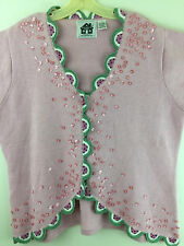 Storybook Knits Womens Plus Size 1X Pink Green Watermelon Cardigan Sweater HSN
