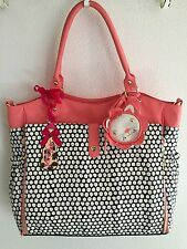 NWT Betsey Johnson Black?Coral Multi Roll Out Diaper Weekender Bag *3 Piece Set*