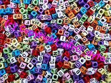 100 Opaque Coloured Alphabet Mixed Letters Cube Beads 6mm