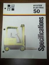 Hyster Lift Truck Brochure~Electric E50B~Specifications~Catalog Insert 1976
