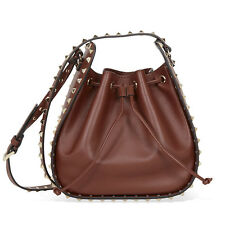 Valentino Rockstud Leather Bucket Bag - Brown