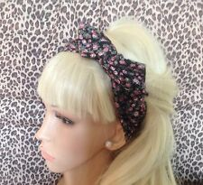 BLACK DITSY FLORAL PRINT COTTON BENDY HAIR WRAP WIRED SCARF HEADBAND 50S RETRO