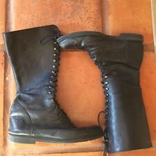 Vintage Lace Up EB Black Leather Women's Tall Punk Granny Boots Size 8.5