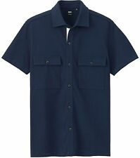 THEORY x UNIQLO 'Dry Pique' Short Sleeve Button Front Shirt Men's L Navy **NWT**