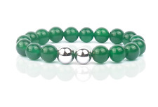 Spiritual Healing Natural Green Agate Silver Ball Beaded Stretch Bracelets
