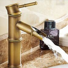 Traditional Antique Short Bamboo Bathroom Basin Sink Faucet Mixer Taps Copper