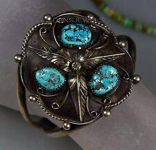 BIG Vintage Old Pawn Navajo Old Kingman TURQUOISE Leaf Sterling Silver Bracelet