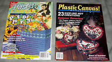Lot of 2 Plastic Canvas Magazines: July/Aug 1994 & July 1995 Summer +++ patterns