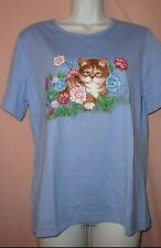 NEW WOMENS BLUE FLORAL CAT KITTEN TOP Sz S/M NWOT
