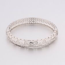 Vintage Luxury Silver Tone Hollow Net Style Clear Sapphire Crystal Bracelet Cuff