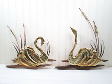 Vintage Swan Wall Hanging Art Plaque Set Home Interiors Gold Metal Tin Wood Bird