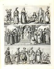 Stampa antica COSTUMI MEDIO ORIENTE PERSIA Caucaso Georgia1851 Old antique print