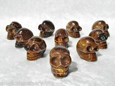 22g CUTE GOLDEN TIGERS EYE CRYSTAL SKULL GEMSTONE CARVING REIKI UNUSUAL GIFT