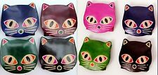 LEATHER CAT PURSE ASSORTED COLOURS