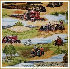 BonEful Fabric FQ Cotton Quilt Green Scenic Lg Tree Farm*land Tractor Barn Fence