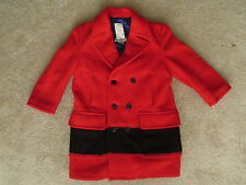 Vintage 100% Red-Black Wool HUDSON BAY POINT BLANKET Coat Sz-M (Altered Sleeves)