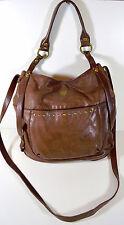 Lucky Brand Soft Brown Leather Brass Studded Hobo Crossbody Shoulder Handbag