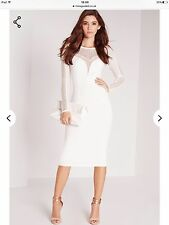 Missguided White Long Sleeve Mesh Insert Midi Bodycon Dress. Size 8.