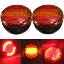 2x Universal LED Combination Rear Tail Stop Indicator Round Light Truck Trailer