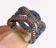 THREE COLORS EMERALD RUBY SAPPHIRE .925 SOLID STERLING SILVER RING SIZE 8 #76130