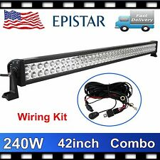 """42"""" 240W LED LIGHT BAR OFFROAD DRIVING LAMP COMBO SUV FOG 4WD+WIRING KIT ATV PRY"""