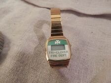Vintage Tri Clover Fire Department Watch Gold Tone