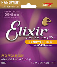 Elixir Nanoweb 16002 Phosphor Bronze Acoustic Guitar Strings extra light 10-47