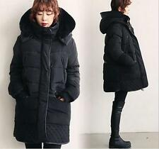 Women Winter Thickening Warm Down Jacket Feather Long Coat Parka Lambwool Hooded