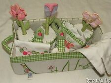 POTTERY BARN KIDS garden basket plush gloves GUC flowers pots PBK