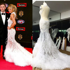 Feather High Neck Wedding Dresses Mermaid Lace Bridal Formal Gown Size 4 6 8 10+