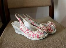 korean peep-toe sling-back  sequined floral wedge shoes, size6