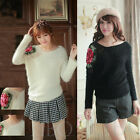 Fashion Women Hollow Loose Batwing Sleeve Mohair Pullover Jumper Knitted Sweater