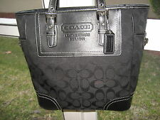 Coach 10659 Black Signature Jacquard Leather Trim Gallery Lge Tote Double Straps