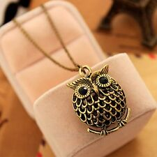 Moda Mujeres Vintage Bronce Hollow out Owl Collar cadena larga colgante Necklace