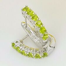 New Sterling Silver Huggie Style Pave Set CZ Lime Green Latch Back Earrings *