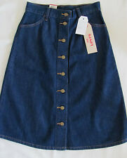 Levi's A Line Denim Skirt- Buttons-Below Knee -Shaded Cool Wash -Size 28 NWT $58